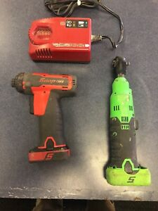 Snap On 14 4v Microlithium Cordless Screwdriver Kit Cts761ag And Ctr714ag