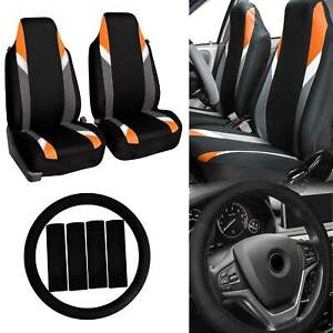 Highback Car Seat Covers Bucket Seats For Auto W Accessories Orange Black