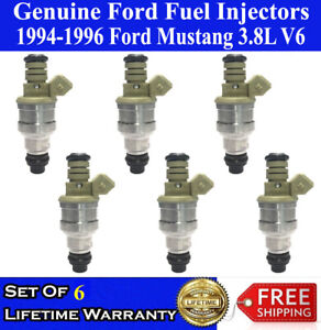 Genuine Ford Set Of 6 Fuel Injectors For 1994 1995 1996 Ford Mustang 3 8l V6