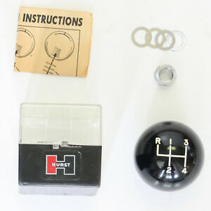 Vintage Hurst 4 Speed Knob Black 3 8 X 24 With Plastic Storage Case New