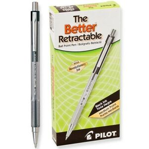 30005 Pilot The Better Retractable Ballpoint Pen Medium Point Black 2 Dozen