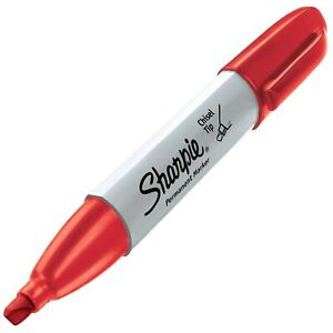 38283 Sharpie Chisel Tip Permanent Marker Red Ink Pack Of 5