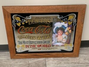 Vintage Coca-Cola Advertising Mirror 5 Cent with Wooden Frame