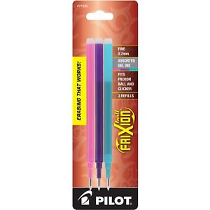 Pilot Frixion Ball Gel Pen Refill Fine 0 7mm Assorted Pastel Ink 3 Packs Of 3