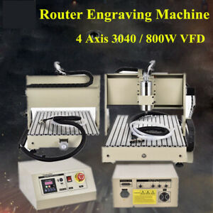 4 Axis Cnc 3040 Router Engraver Kit Wood Carving Engraving Cutting Machine 800w