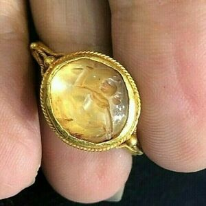 Ancient Crystal Roman Man Do Ritual Dancing Intaglio Signet Solid 22k Gold Ring