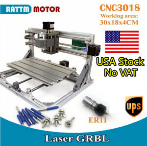 Usa 3 Axis Diy Usb Cnc Router Kit 3018 Milling Pvc Wood Engraver Machine collet