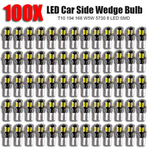 100x Canbus T10 194 168 W5w 5730 8 Led Smd White Car Side Wedge Light Lamp Bulb