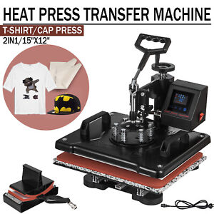 2 In 1 Led Heat Press Machine Transfer Sublimation T shirt Cap Hat Plate 12x15