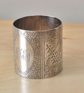 Large Wood Hughes Coin Silver Napkin Ring Owl And Floral Decoration