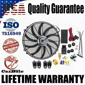 16 Inch Electric Radiator Cooling Fan 130w 3000cfm Relay Thermostat Switch Kit