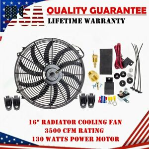Carbole 16 Inch Electric Radiator Cooling Fan 130w 3000cfm Relay Thermostat Kit