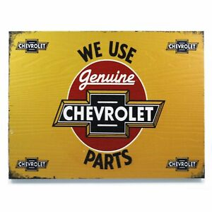We Use Genuine Chevrolet Parts Rectangle Wood Sign Vintage Display Gm Ghevy Ss