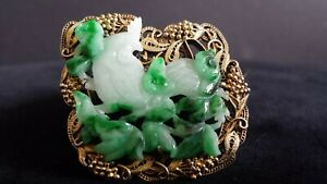 Antique Chinese 19th Century Brooch Made From Carved Jadeite Set In Gilt Silver