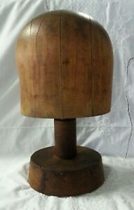 Antique Wooden Hat Form On Stand 6 5 8