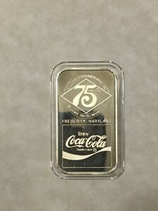 Coca Cola .999 1oz Silver Bar Frederick, Maryland MD 75th Anniversary mint