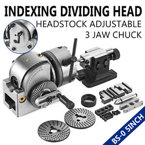 Bs 0 Precision Dividing Head With 5 3 jaw Chuck Tailstock For Cnc Milling Usa