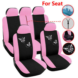 Full Set Girls Pink Car Seat Cover Set Universal Fit For Seat Ibiza Leon Arona