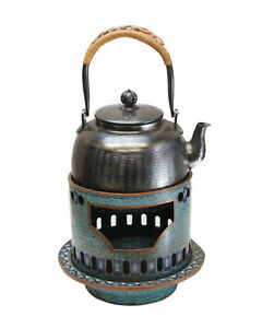 Japanese Silver Teapot And Cloisonne Enamel Stand Meiji Period