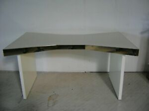 Commercial Retail White Gold Trim Display Table