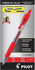 Pilot G2 Retractable Gel Ink Roller Ball Pen Red Ink Bold Sold As 2 Pack
