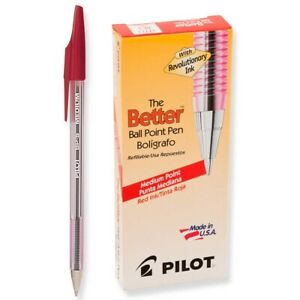 Pilot Better Stick Ballpoint Pen Red Ink Medium Sold As 2 Packs Of 12