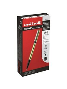 Uni ball Deluxe Roller Ball Pens 60052 Black Ink Fine Point 2 pack Of 12