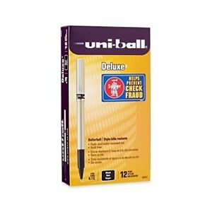 Uni ball Deluxe Roller Ball Pens 60052 Black Ink Fine Point 4 pack Of 12