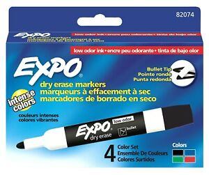 6 Pack Low Odor Dry Erase Markers Bullet Tip Assorted 4 set By Sanford Ink c