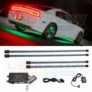 New Ledglow 4pc Green Wireless Remote Led Underbody Underglow Neon Light Kit