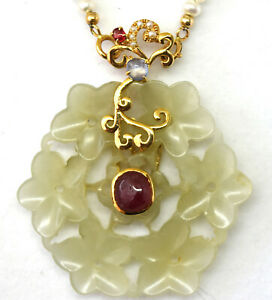18k Solid Gold Natural Ruby Tourmaline Pearl And Antique Hetian Jade Necklace