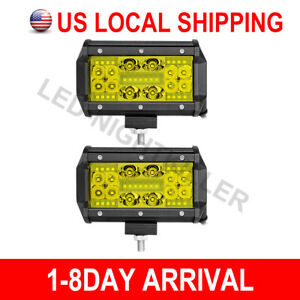 2x 5 Led 3000k Fog Quad Row Work Light Bar Flood Spot Driving Off Road 4wd 12v