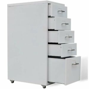 5 Drawers Filing Cabinet Office Stationary Storage Cabinet With Moving Castors