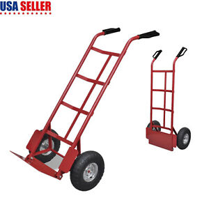 Heavy Duty Luggage Box Cart Moving Warehouse Push Hand Truck W inflatable Wheels