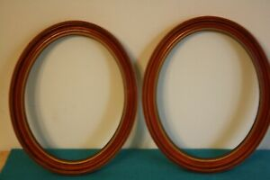 2 Vintage Oval Solid Wood Picture Frames Medium Brown Tones With Gold Edging