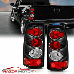 2003 2006 For Chevy Silverado 1500 2500 3500 Black Clear Tail Lights Pair