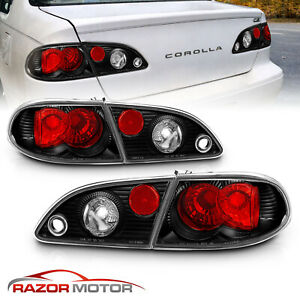 For 1998 1999 2000 2001 2002 Toyota Corolla Jdm Black Tail Lights Rear Lamps Set