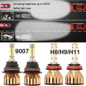 Auto Parts Led Headlight Bulbs 9007 Hb5 H8 H9 H11 4 Sides Chips 6500k Mini Size