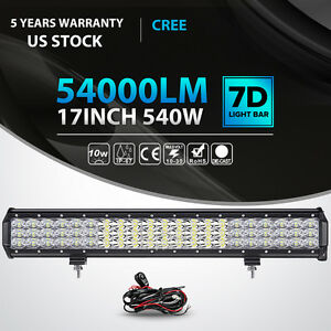 Tri row 17 inch 540w Cree Led Light Bar Combo Offroad Suv Truck For Jeep Atv Ute