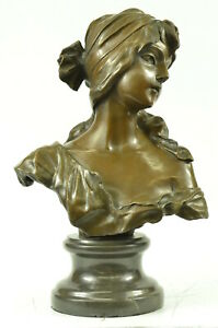 Elegant Original Signed By Milo Bronze Marble Statue Nude Female Bust Sculpture