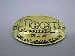 1950 Willys Overland Jeepster Original Body Badge Solid Brass