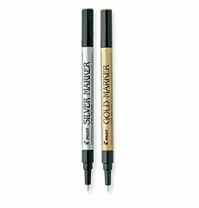 Pilot Gold And Silver Metallic Permanent Paint Markers Extra Fine Point 2 pack