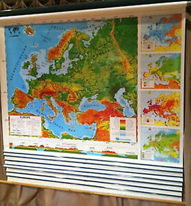Classic Nystrom Continents Regional School Pull Down Flip Wall Map 7 Maps 637