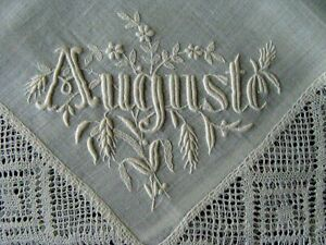 Amazing Antique Victorian Hand Made Lace Linen Hanky Hand Embroidered Whitework