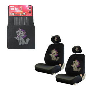 White Kitty W Pink Bow Crystal Rhinestone Floor Mats Low Back Seat Covers Combo