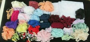 Huge Lot Of Vintage Lace Trim For Sewing Edging Ribbon Crochet