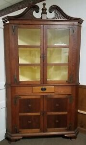 Chippendale Style Mixed Wood Corner Cupboard Cabinet