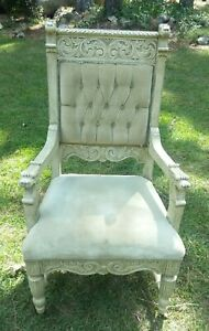 Antique Chair Gentleman S Throne Lion Head Mouth Tufted Crushed Velvet Velour