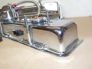Small Block Chevy Sbc Chrome Kit Valve Covers Hold Downs Breathers 54083