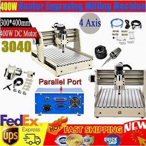 400w 3040 Cnc Router Engraving Machine 4 Axis Desktop Wood Drill Mill Engraver